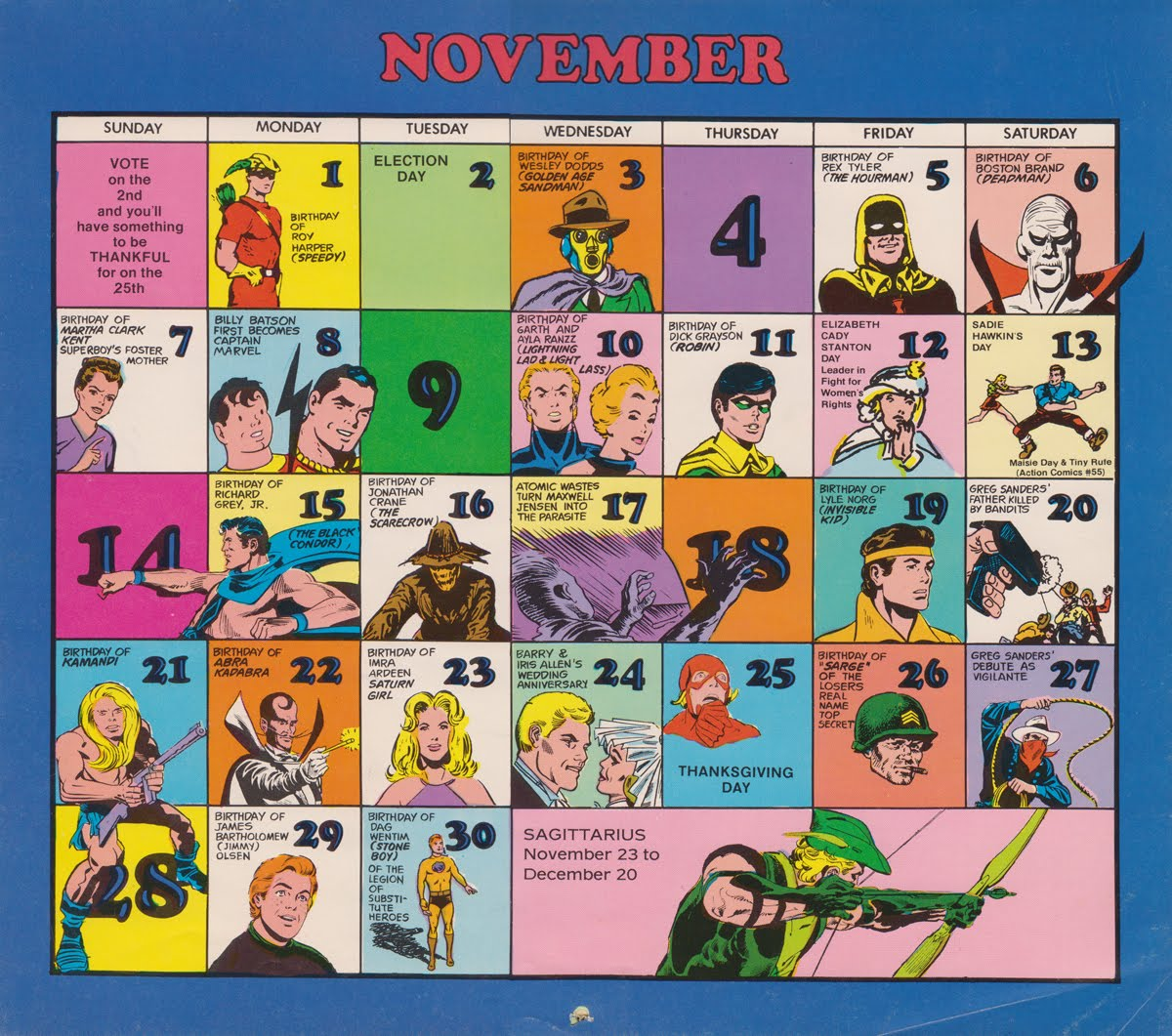 Super Dc Calendar 1976 November Tommy Topps