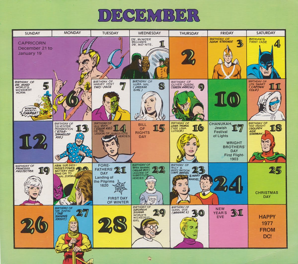 Super Dc Calendar 1976 December Tommy Topps